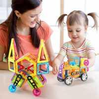 Juego de juguetes educativos magnéticos de bloques de construcción de barril de 118 piezas