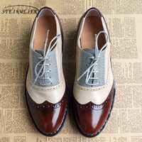 Mujer oxford plana zapatos de primavera zapatos de mujer pisos de cuero genuino de verano Zapatos vintage cordones mocasines zapatillas de deporte casuales zapatos