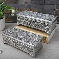 Caja de joyería de metal de lata antigua europea bastoncillo de algodón soporte de almohadilla contenedor caja de almacenamiento organizador de mesa Z164