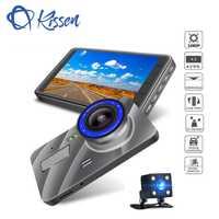 Kissen Full HD 1080 P del coche DVR de 4 pulgadas IPS pantalla cámara de coche Dual de la lente Dash Cam grabadora de Video de la noche visión G-sensor registrador