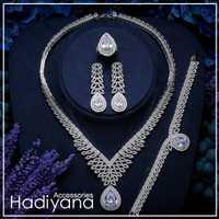 Hadiyana moda nupcial Zirconia conjuntos de joyas para mujeres de lujo de Dubai accesorios de la boda conjunto de joyas con Waterdrop Cz TZ8151