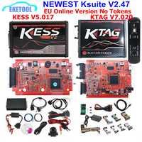 Más KESS V2.47 5.017 V2 KESS V5.017 K-TAG 7.020 K etiqueta 7.020 4LED SW2.23 rojo de la UE LED BDM marco ECU Herramienta 9 ECU SW regalo
