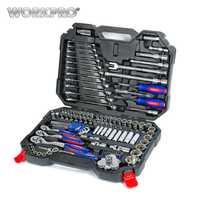 WORKPRO 123 Unid conjunto de herramientas de mano para coche reparación Llave de trinquete llave Socket Set profesional coche Kits de herramienta de reparación