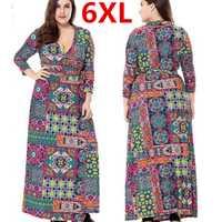 Más tamaño 6xl Maxi mujeres otoño Vestidos impreso flor Bohemia vestido suelto robe Femme vestidos verano gran tamaño 6xl mujeres
