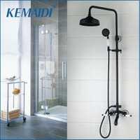 Kemaidi aceitado bronce lluvia Grifos para duchas set negro 8