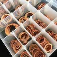 568 unids/caja 30 tamaños de arandelas de cobre de junta de anillo plano de sumidero macho sello de Kit de lavadora con caja de plástico MDJ998
