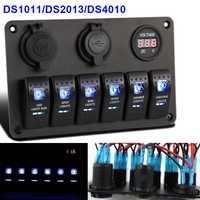 6 grupos LED basculante interruptor Panel barco luz doble USB cargador de coche voltímetro Digital 12 V toma de corriente a prueba de agua DXY88