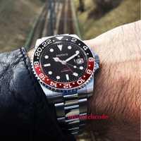 40mm Parnis relojes mecánicos Rojo Negro bisel de cerámica negro dial GMT luminosa marcas de cristal de zafiro automático reloj para hombre