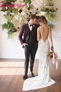 Linyixun nueva llegada elegante vino rojo terno masculino slim fit masculina personalizado Trajes traje hombre boda Trajes para hombres