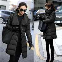 Chaqueta de Invierno para mujer 2018 nueva moda abrigo de invierno para mujer ceñido largo abajo Parka Outwear chaqueta femenina talla grande 3XL