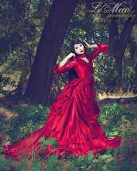 Venta caliente satén largo rojo Victorian