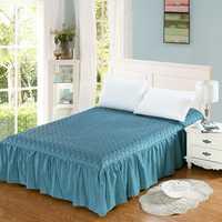 Espesar acolchado bedskirt 100% algodón colcha elástica con volante 180*200 sábana ajustable cama pastoral ropa de cama cubierta 1 unid