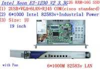 1U Firewall red router RouterOS 2G RAM 16G SSD 6*1000 m LAN 82583 V InteL Quad core Xeon E3-1230 V2 3,3 GHz sin gráfico