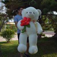 Peluche rellenos juguete enorme 140 cm blanco oso de peluche de juguete abrazo rojo rosa flor oso muñeca suave abraza la almohadilla regalo de Cumpleaños s0618