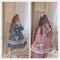 Lolita gruesa de manga larga vestido de pana de invierno las mujeres collar cuadrado vestido de volantes