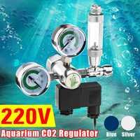 Regulador CO2 de acuario de utilidad G5/8 220 V válvula de retención magnética de solenoide herramienta de tanque de peces de contador de burbujas de acuario CO2 control