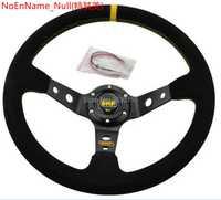 14 pulgadas 350mm OMP volante de carreras volante automático volante de cuero de gamuza Línea Amarilla
