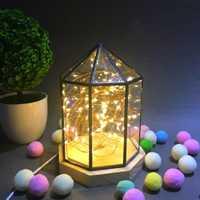 Estrella de fuego árbol de plata de la flor casa lámpara de madera sólida cubierta de vidrio luz de noche de Led de lámpara de mesa de Yurt