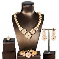 Dubai joyas de oro para las mujeres flor nuevo lujo cúbicos zirconia joyería establece cuatro piezas