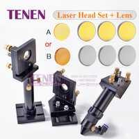 Kit: CO2 láser de la cabeza conjunto de montaje titular + 1 pc lente de enfoque + 3 piezas Si/Mo espejos reflectantes para piezas de la máquina de corte de grabado