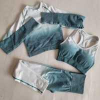 Ombre mallas sin costuras + Sujetador deportivo + Top corto de manga larga 3 piezas Yoga conjunto mujeres corriendo gimnasio ropa alta traje deportivo de cintura
