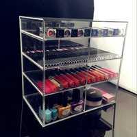 5 unids anti-Scratch acrílico cosmética joyería cosmética organizador caja 4 cajón Carcasas titular de maquillaje storager cajas