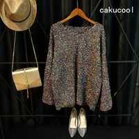 Cakucool Gold Lurex Knit Tops mujer manga larga llamarada cuello pico otoño Jumpers Silver Furry Loose Knit Pulloer Sweater Jumper Mujer