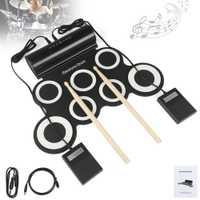 Juego de tambor electrónico Digital portátil enrollable 7 almohadillas de silicona altavoces integrados con palillos soporte de Pedal de apoyo USB MIDI