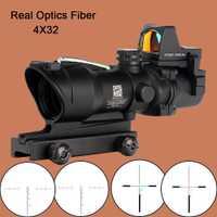 Fyzlcion caza ACOG 4X32 Real de fibra óptica Chevron BDC retícula rojo verde iluminado Riflescope para Rifle 223 calibre 308.