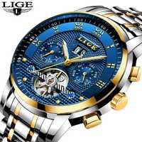 Reloj Masculino en este momento relojes para hombre marca de lujo reloj mecánico automático de los hombres de acero completo negocio deporte impermeable Relojes