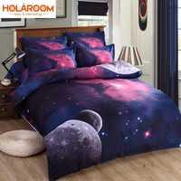 Juego de ropa de cama 3D Nebala espacio exterior Star Galaxy 2/3/4 piezas funda de edredón funda de almohada plana Doble tamaño de la Reina