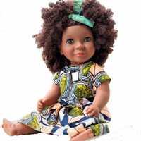 46cm cubierta negra muñeca de África muñeca con rizos juguete explosivo cabeza recién nacido Niño niña Regalo de Cumpleaños muñecas emuladas niños regalo muñeca