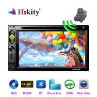 Hikity 2 din Car Radio 6,2 ''espejo enlace Bluetooth MP5 DVD/CD estéreo 2DIN reproductor Multimedia FM AUX /USB/SD/TF de cámara de seguridad