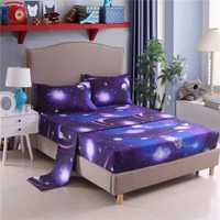 Galaxia universo espacio exterior colcha cama de microfibra extensible cama 3D juego de sábana cubierta de colchón Protector rey