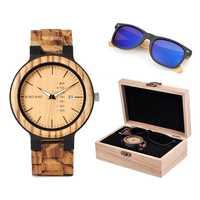 BOBO OISEAU Classique Hommes bois sur mesure Montre et lunettes de soleil en bois Costume coffret cadeau coffret cadeau pour Papa Fête Des Pères
