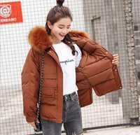 HCBLESS Faux Fur Collar corto Parkas sueltan abajo abrigos invierno mujeres chaquetas con capucha negro Burdeos nieve Outwear