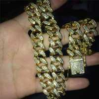 Collar de circonita cubana de circonita de 13mm, joyería de Hip hop, oro, plata, claro, CZ, cierre para hombre 18-24 pulgadas