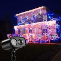 Movimiento azul marca de agua de copo de nieve lámpara de Proyector láser etapa luz LED Navidad Año Nuevo fiesta de Halloween al aire libre