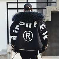 De los hombres de invierno de cuello de piel gruesa con capucha Parkas chaqueta Streetwear Hip Hop Punk acolchado de algodón abrigo de moda de negro