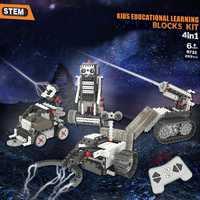 Bricolage 4-en-1 jeu de Construction RC contrôle robotisé Vechicles Robots d'exploration spatiale motorisés tige éducatifs blocs d'apprentissage kit