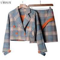 LXUNYI Otoño de Primavera de dos piezas falda a cuadros traje de mujer estilo coreano conjunto femenino Mini Falda corta y chaquetas de Doble pecho