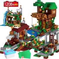 1208 pièces mon monde blocs de construction avec légosie Minecrafted Village Warhorse ville arbre maison cascade briques éducatifs enfants jouets
