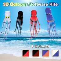 3D pulpo Nylon Kite deporte al aire libre 8 M vuelo Software cola larga cometas juguetes cometa enorme para niños