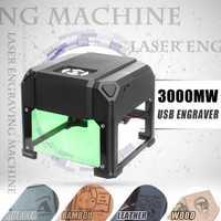 Máquina grabadora láser escritorio USB 3000 MW 80x80mm rango de grabado DIY Logo marca impresora cortador CNC máquina de tallado láser