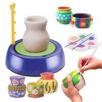 Mini bricolaje arcilla de cerámica hecho a mano juguete de cerámica máquina de ruedas de cerámica chico de artesanía educativo regalo de juguete para niños