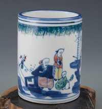 Exquisito chino clásico de porcelana archaistic titular de la pluma pintado con personajes populares