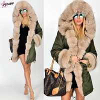 Más el tamaño de las mujeres de piel de imitación abrigo Parka para mujer pieles gruesas abrigo militar Mujer chaqueta de invierno Abrigo con capucha abrigo parkas de algodón