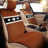Karcle piel de oveja Fundas de asientos kits conjunto lana protector de asiento de coche transpirable asiento Cojines car styling auto Accesorios
