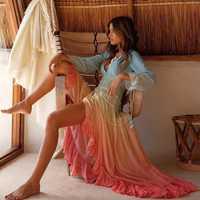 BOHO inspirado Arco Iris alto bajo vestido con cuello en V volantes ribete vestido de verano vacaciones largo playa vestido 2019 chic boho vestido las mujeres