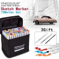 FINECOLOUR/STA artista de doble cabeza dibujo marcador Set 36/48/60/72 colores base de Alcohol Manga arte marcadores para diseño suministros